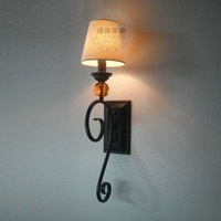 Vintage American style Wall lamp with cloth cover for living room /bedroom free shipping new arrival 2014