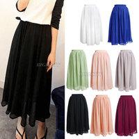 2014 Spring New Women Ladies Retro Vintage High Waist Double Layer Chiffon Pleat Bohemian Princess Maxi Long Skirt Veil for Xmas