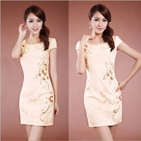 New style fashion accord 2014 summer exquisite sequin embroidery elegant cheongsam dress women's short-sleeve qipao