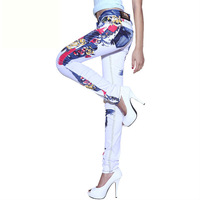 free shipping colored drawing lady's fahsion jeans female Dark denim trousers punk style skinny lady's pants thickening