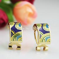 Newest 1cm Width Light Blue Stream Design Rose Gold Plated Enamel Jewelry Earring Pendant,1pcs