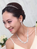 Irregular Shape Necklace Tassel Earring 3 Rows Hairbands Concise Rhinestone Bridal Jewelry sets