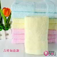 Free shipping Cotton bamboo fiber bath towel Embroidered Plain Woven Bath Towel , 5pcs/lot, D141