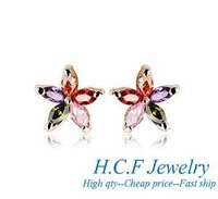 2013 New The new crystal 18k color five which gold-plated earrings earrings accessories girl's Christmas gifts\