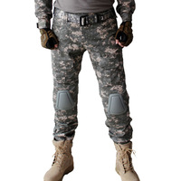 Tactical Combat Airsoft Paintball Hunting Pants W/ knee pads Soldier Trainer Outdoor  Survival Field game Camouflage Trouser ACU