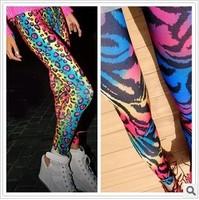 2014 female neon gradient multicolour legging leopard print legging ankle length trousers legging