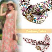 Fashion watches Retro Alloy  quartz sport women Rhinestones watch with Rose Colorful Flower  women dress watches
