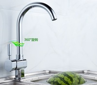 Free Shipping Brass Chrome Single Hole Kitchen Water Taps Basin Faucet Sink Mixer Tap