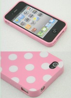Refreshing Pink White Polka Dots TPU Back Case Cover For iPhone 4 4G 4S