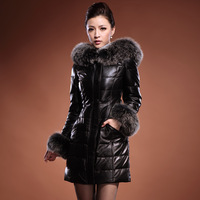 2013 Winter Women Real Fox Fur Hooded Solid Black Long Genuine Sheepskin Leather Down Coat Fox Fur Collar & Waist Belt Slim Fit
