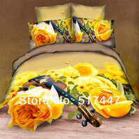 Yellow roses bedding set 4pc 100%cotton duvet quilt cover bed sheet linen comforters pillowcase bedclothes bedspreads queen size