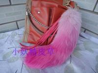 Fur bags hangings ultralarge gradient color fox fur wool multi color   pendant