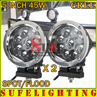 FREE DHL SHIPPING! 2PCS 5 INCH 45W CREE LED WORK LIGHT FLOOD FOG LIGHT FOR OFFROAD MACHINERY 4WD ATV SUV USE LED DRIVING LIGHT