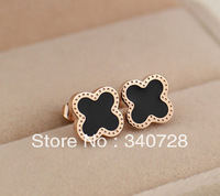 14K Rose Gold Titanium High Quality 0.8cm Four Leaf Clovers Shell Stud Earrings Rose Gold Titaniium Steel Jewelry free shipping
