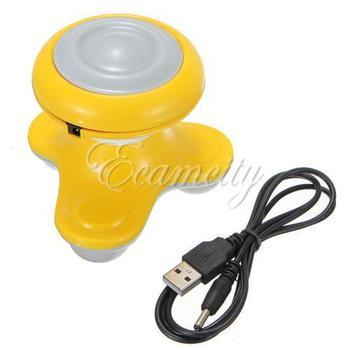 Free Shipping Mini Wave Vibrating Breast Neck Shoulder Waist Massager Handled USB / Battery Electric Full Body Massage Yellow