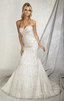 2013  FreeShipping  White/ivory Organza  Mermaid Sweetheart Appliques  Wedding Dress Party Dress custom made