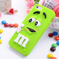 SO CUTE New Fashion 3D Soft Silicone Rainbow Bean Smile Cover Skin Case for Apple iPhone 5 10 Colors Available