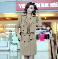 Free Shipping 2014 New Korean Fashion Spring Autumn Winter Women's Cotton Outerwear Plus Size Casual Trench Coat Khaki,Black
