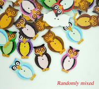 100Pcs Random Mixed Lovely Cartoon Owl Animal  Wood Sewing Buttons DIY Scrapbooking 3.2x2cm  A00743