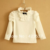 wholesale 2013 New Arrival girls solid T-shirts fashion tops for children white high quality cotton girls tees autumn and winter
