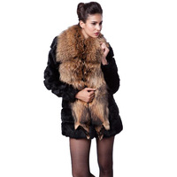 Faux 2013 large female raccoon fur coat rabbit fur slim medium-long outerwear warm winter coat free shipping