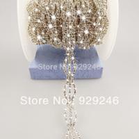 free shipping 1 yard 1.3 cm crown shape clear crystal rhinestone applique chain trims bridal wedding decoration garment accesso