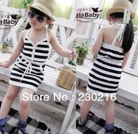 5pcs children clothing Girl's Dress ,girls summer black white Striped Sling dresses,free shipping.