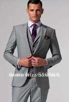 Wholesales Free shipping high quality wool three-peice suit Custom made Men Fashion Suit (Jacket + pants +vest) Suit