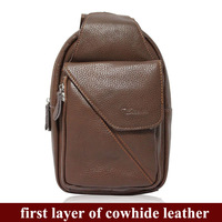 cowhide leather business shoulder bags for men,school student chest backpacks bags for teenagers/boys,4073