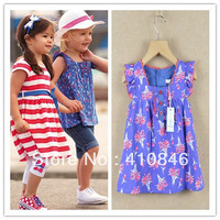 New Fashion 2013 Summer Flower Dress Girl's Blue Printed ruffled cuff T shirt dress 5 pcs lot BS1012