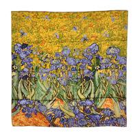 "100% Pure Silk Mulberry Silk Scarf Shawl Art Oil Painting Van Gogh's ""Irises"" 1889 Big Square Scarf Wholesale 10Pcs EMS Shipping"