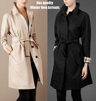 ON Sale Trench coat Fashion all-match fashion slim belt black and white beige elegant Women overcoat trench  hot