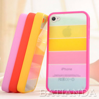 MOQ 1pcs Colorful Rainbow Silicon Skins Covers Cases for iphone 5 5s Free shipping