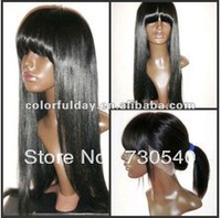 "malaysian lace front wig Silk straight10""-26"" malasian virgin hair with full bangs no shedding tangle free DHL(355)"