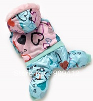 2013 New Sweet Love Doggie Hoodie Warm Pet Winter Four Legs Suit  Designer Dog Clothes