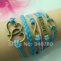 Hot Leather bracelet bronze Double heart to heart,infinity, love, arrow charms bracelets for women 2013 bracelet women BR901