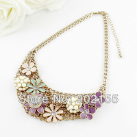 Charm Design Hollow Out Gold Color Chain With Colorful Rhinestone Flower Chunky Collar Necklace
