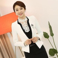 New 2014 Autumn Fashon White Blazer for Women Winter Jackets Office Ladies Work Wear Blazers Slim Black Patchwork