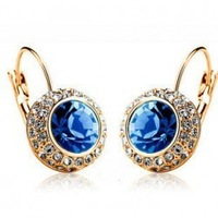2014 Luxury Gold/Silver Plated Crystal Moon River Hoop Earrings Jewelry For Women Wholesale