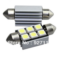 free shipping 10pcs Car 5050 6 SMD Interior Lamp White Festoon Dome 36mm Light 12V Car Interior Light Canbus Error Free Bulb