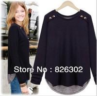 Free shipping 2013 Autumn New Fashion O-Neck Women Long Sleeve Tops Blouse Big Sizes Loose Cotton T-shirt 9008