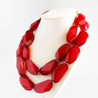 Free shipping 2013 fashion accessories double layer red crystal necklace c52 accessories
