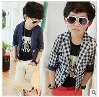 Free shipping spring boys coat polka dot three quarter sleeve small suit jacket fashion boys plaid casual blazer 44
