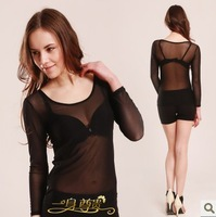 Hot Sale 2013 Newwest Black Mesh Gauze T Shirt Long Sleeve Sexy Ladies Tops Black T Shirt