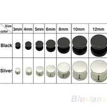 3 4 5 6 8 10 12 mm Hombres Mujeres Oído fresco de la muchacha Barbell Punk gótico de acero inoxidable plata de la manera tachona los pendientes Negro 2014 1NXN(China (Mainland))