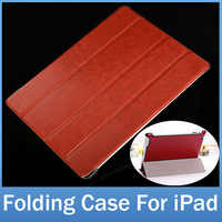 England Fashion Crazy Horse PU Leather Thin Slim Folding Cover Case For Apple iPad 4 3 2 With Stand Function FREE SHIPPING