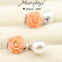 No pierced earrings exquisite 18k platinum resin flower pearl cushiest earrings jason costume