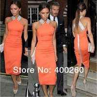 2013 Hotsale Victoria Beckham Same Design Sexy Sheath Dress with back zipper Stretchy Lining !!Shipping Free