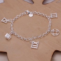 Free Shipping!Wholesale 925 Silver Bracelets & Bangles,925 Silver Fashion Jewelry With 5 Charms Bracelet SMTH184