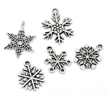 50 Mixed Silver Tone Christmas Snowflake Charm Pendants (B11040)8seasons